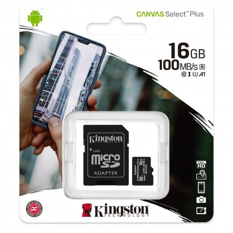 Κάρτα Μνήμης microSDXC Canvas Select Plus 80R 16GB Kingston Class 10 με SD Adapter