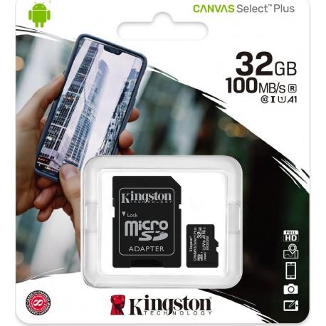 Κάρτα Μνήμης microSDXC Canvas Select Plus 80R 32GB Kingston Class 10 με SD Adapter