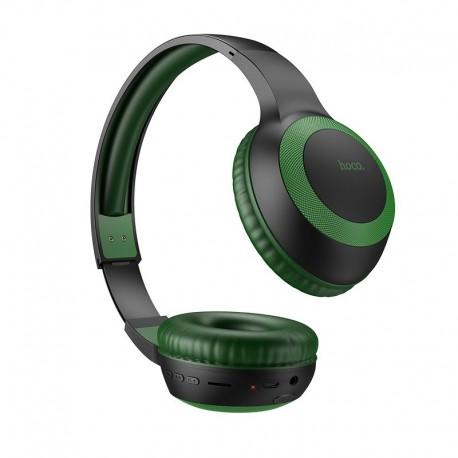 Wireless Ακουστικά Stereo Hoco W29 Outstanding V5.0 Πράσινο με Μικρόφωνο, υποδοχή Micro SD, AUX & Πλήκτρα Ελέγχου