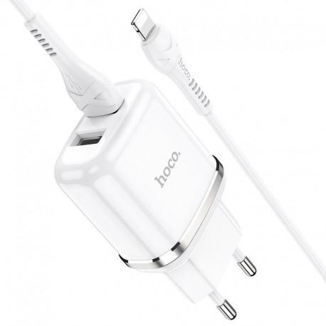 Φορτιστής Ταξιδίου Hoco N4 Aspiring με 2 Εξόδους Φόρτισης USB 5V 2.4A Λευκός με Καλώδιο Lightning 1μ