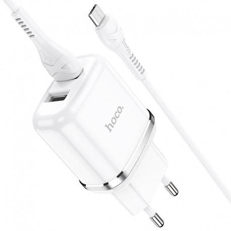 Φορτιστής Ταξιδίου Hoco N4 Aspiring με 2 Εξόδους Φόρτισης USB 5V 2.4A Λευκός με Καλώδιο Micro USB 1μ