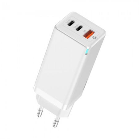Baseus GaN Φορτιστής Τοίχου PPS 65W USB / 2x USB Type C / Q.C. 3.0 / Power Delivery SCP FCP AFC - White CCGAN-B02