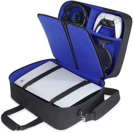 Τσάντα Μεταφοράς Playstation 5 Με Θέσεις Για Controller-Games-Headset-Accessories (USA GEAR PS5 43210000) Blue