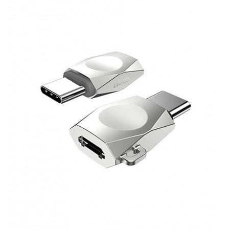 Αντάπτορας Hoco UA8 Micro Usb (Θηλυκό) σε USB-C (Αρσενικό) Ασημί
